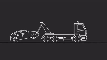truck crane : Tow truck picking up on a black background Stock Footage