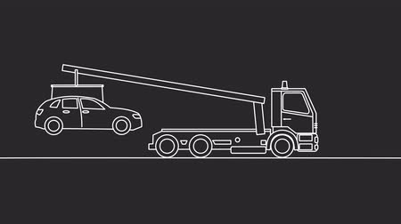 wrecker : Tow truck picking up on a black background Stock Footage