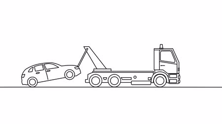 truck crane : Tow truck picking up on a white background