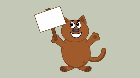 bejelent : smiling cat with a poster - animation