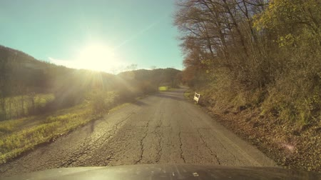 straight road : Driving Along a Countryside Road Stock Footage