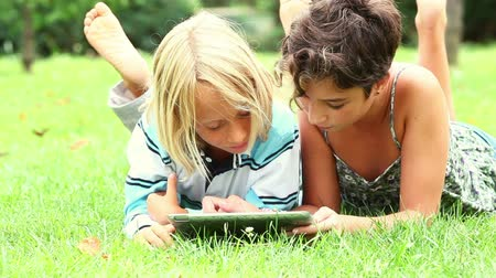 çim : Couple of Children with Tablet PC