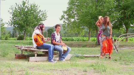 hippi : Hippie Group Playing Music and Dancing Outside Stock mozgókép