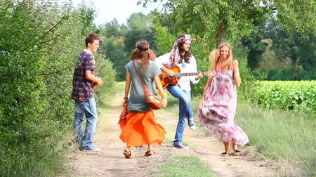 juventude : Hippie Group Playing Music and Dancing Outside Vídeos
