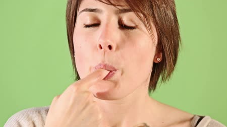 lambida : Young Woman Eating Chocolate Cream
