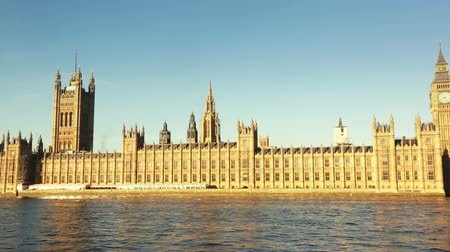 london england : Panoramic View of Westminster in London Stock Footage