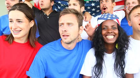 match : American Supporters at Stadium Stock Footage