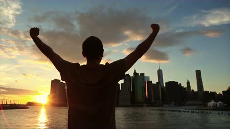 arka görünüm : Successful Man in New York at Sunset