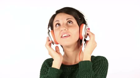 amalucado : Happy Young Woman Listening Music with Headphones Stock Footage