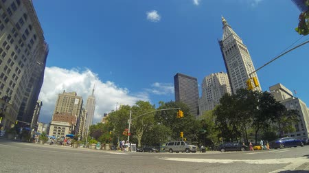 avenida : NEW YORK, USA - AUGUST 24, 2014: Time-lapse view of a New York road intersection, with traffic on the street and people on crosswalk. There are a park and some skyscrapers on background.