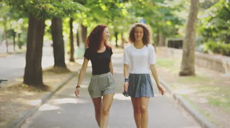 kıvırcık saçlar : Two beautiful girls walking and laughing at park. They are walking on a footpath with trees on background. Summer and sunny day settings. Lifestyle and friendship concepts. Vintage filter added. Stok Video