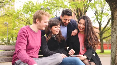 относящийся к разным культурам : Group of friends having fun at park in Berlin. Mixed race group with caucasian, middle eastern and nordic persons, sitting on a bench and looking at a smart phone. Happiness and friendship concepts. Стоковые видеозаписи