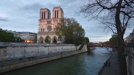 paříž : Notre Dame de Paris cathedral at dusk with Seine river on foreground. The facade has some lights on, the sky is cloudy. Travel and architecture concepts.