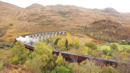 lokomotif : Steam train crossing Glenfinnan viaduct in Scotland. Famous train journey in Scottish Highlands with beautiful landscape and scenery. Transportation and travel concepts