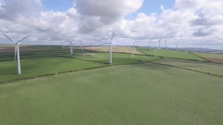 Wind turbines for electrical energy generation. Power station for clean energy production from wind. Aerial view of a wind farm. Renewable energy concept