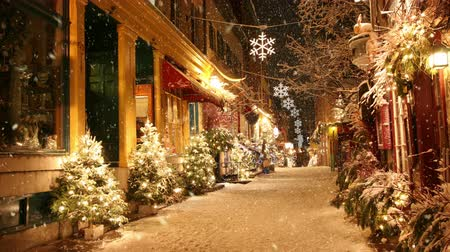 kanada : Snow is falling on a deserted street in decorated for Christmas Stok Video