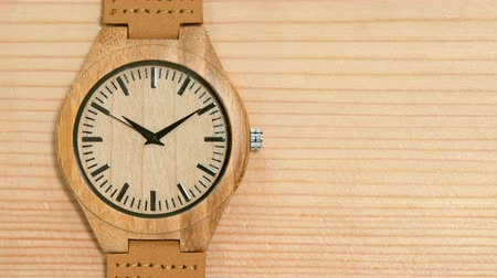 kuvars : Wooden watch close-up Stok Video