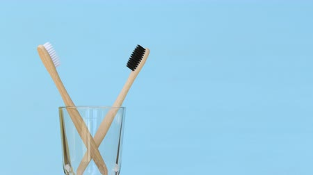 dois objetos : Two bamboo toothbrushes rotating in glass Stock Footage