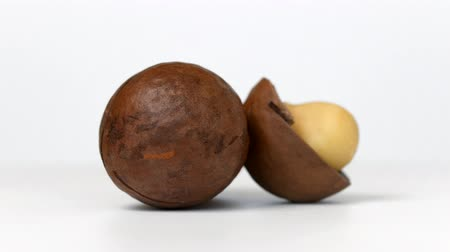 Macadamia nuts rotating on white background