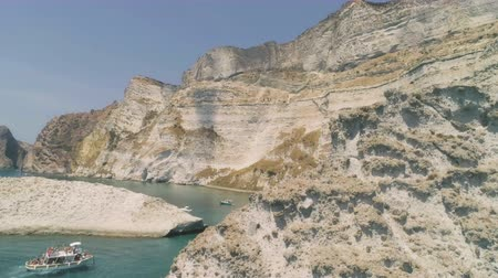 looking far away : Landscape of Palmarola Island in Italy with cliff and white rocks