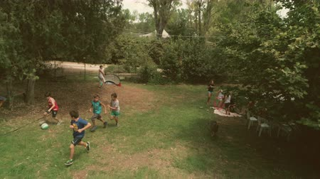 kamp : Young happy kids in summer camp playing football soccer in green grass field children slow motion aerial vertical