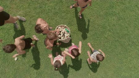 kamp : Top view kids in summer camp playing in green grass field putting sponges in bin slow motion aerial vertical