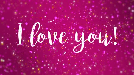 fuksja : Romantic sparkly pink Valentines Day animated greeting card with I love you handwritten text.