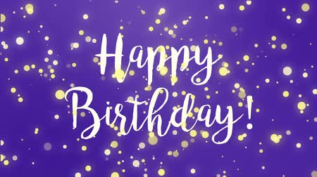 fuchsie : Purple Happy Birthday greeting card video animation with handwritten text and falling sparkly particles.
