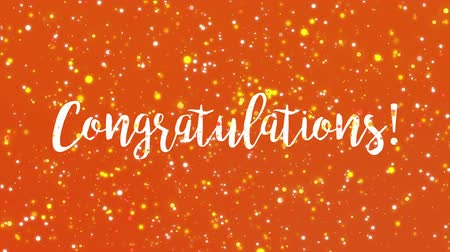 övgü : Sparkling orange Congratulations animated greeting card with handwritten text.