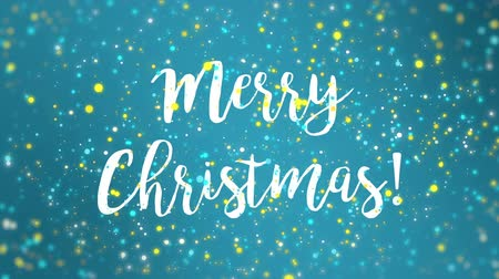 manuscrita : Sparkly blue yellow Merry Christmas greeting card video animation with falling colorful glitter particles.