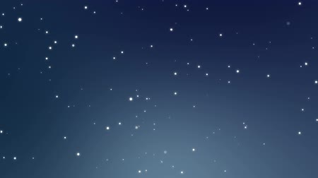 полночь : Illuminated starry night sky animation made of sparkly white light particles flickering on a glowing dark blue background.