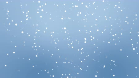 полночь : Animated winter background with glowing white snowflake particles falling down against light blue backdrop. Стоковые видеозаписи