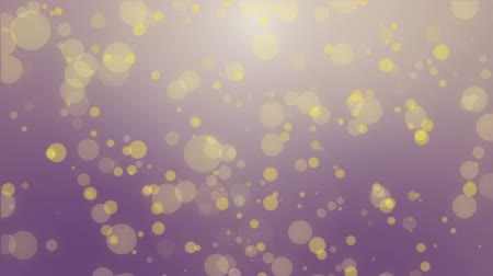 tło : Magical dark purple glowing bokeh background with floating yellow light particles.
