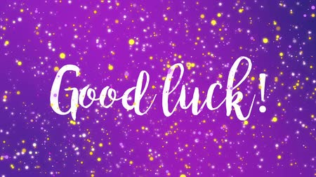 promoce : Sparkling purple Good luck animated greeting card with handwritten text. Dostupné videozáznamy