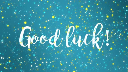 louvor : Sparkling blue Good luck animated greeting card with handwritten text.
