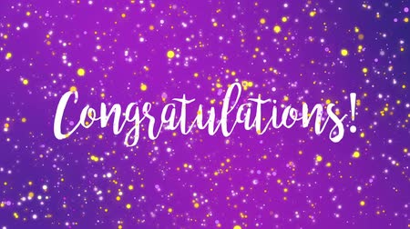 övgü : Sparkling purple Congratulations animated greeting card with handwritten text.