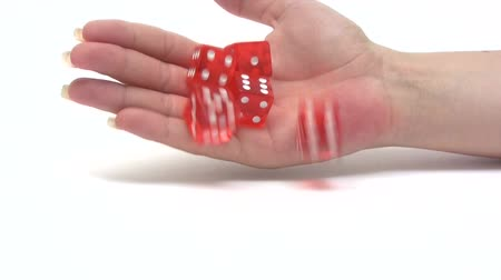 rasgele : Rolling Red Dice - Slow Motion Stok Video