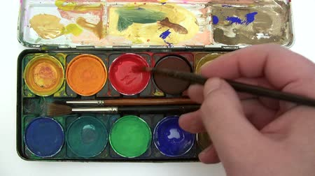 paintbox : Box of Watercolors Stock Footage