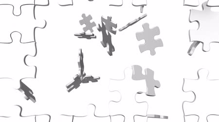 jigsaw : White Puzzle Stock Footage