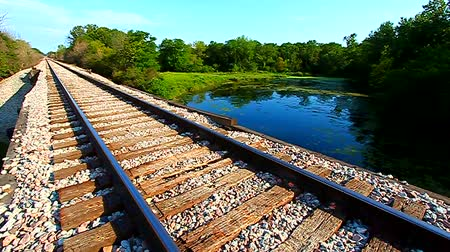 sintonia : Railroad tracks go on for miles in northern Illinois Stock Footage