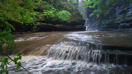 natural tranquil : Beautiful cascades below Lake Falls at Matthiessen State Park Illinois Stock Footage