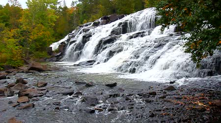 upper peninsula : Bond Falls Scenic Area on an autumn day in the northwoods of Michigan Stock Footage