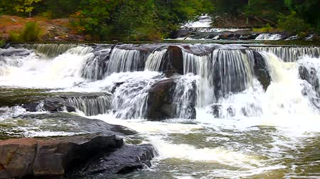upper peninsula : Bond Falls River Rapids in Michigan Stock Footage