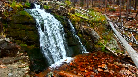 patak : Upper Memorial Falls in the Lewis and Clark National Forest of Montana Stock mozgókép