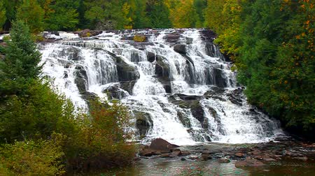 upper peninsula : Bond Falls Scenic Area in northern Michigan is a showcase of beautiful cascades and waterfalls
