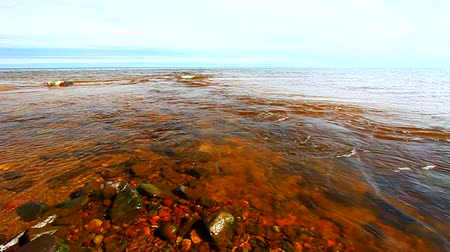 upper peninsula : Cranberry River flows into Lake Superior in the upper peninsula of Michigan Stock Footage