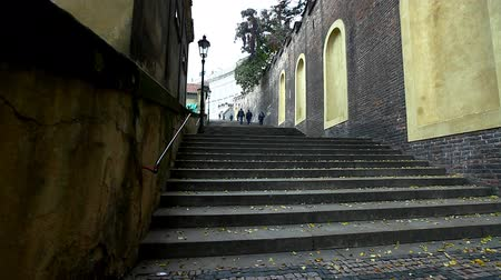 zamek : view on stairs at side of prague cafedral square and huge wall