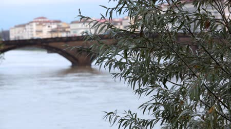 İtalyan : Bridge over channel in winter Florence