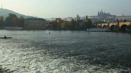 prague bridge : Vltava river at autumn sunset, Prague, Czech Republic
