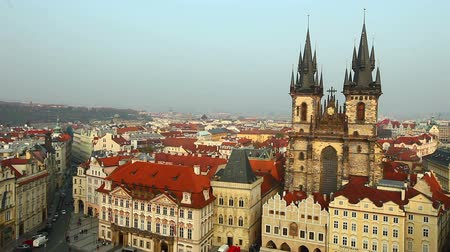 cseh : View at autumn sunset Prague from tower Stock mozgókép